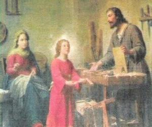 Puzzle de Un joven Jesús trabajando de carpintero junto a su padre José