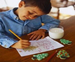 Puzzle de Un niño escribiendo la carta a Papá Noel