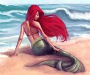 Puzzle de Una preciosa sirena en la orilla