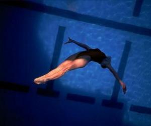 Puzzle de Una saltadora ejecutando un salto
