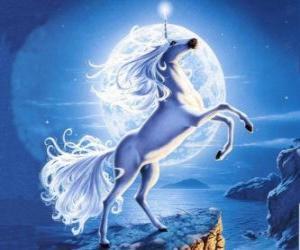 Puzzle de Unicornio - Caballo joven con un cuerno en espiral