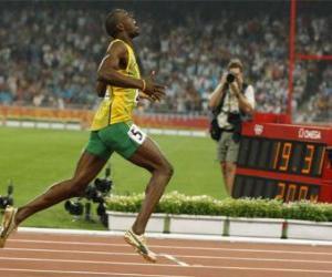 Puzzle de Usain Bolt vencedor en la linea de llegada