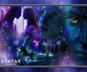 Puzzle de Varias imagenes del avatar na'vi de Jake y Neytiri