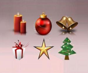 Puzzle de Varios objetos de decoración navideña
