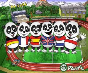 Puzzle de Varios pandas de Panfu con camisetas de algunas selecciones nacionales
