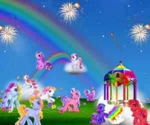 Puzzle de Varios ponis en una celebración