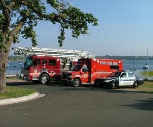 Puzzle de Vehículos de emergencia Bomberos , Ambulancia y Policía