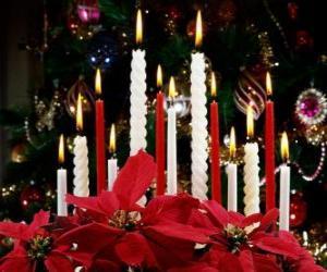 Puzzle de Velas navideñas encendidas