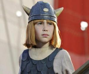 Puzzle de Vicky el Vikingo con su casco con cuernos