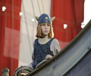 Puzzle de Vicky el vikingo en el barco vikingo o drakkar