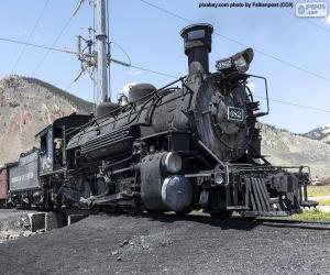 Puzzle de Vieja locomotora de vapor con el vagón del carbón