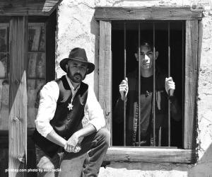 Puzzle de Viejo sheriff con el sombrero de cowboy y la estrella en el pecho