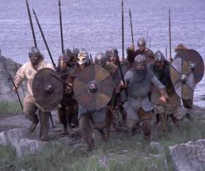 Puzzle de Vikingos desembarcando de su barco completamente armado y con el escudo y la lanza en las manos