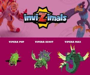 Puzzle de Vipera en sus tres fases Vipera Pup, Vipera Scout y Vipera Max, de Invizimals