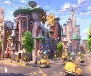 Puzzle de Vista de una de las calles de Glipforg en Planet 51
