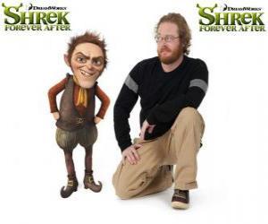 Puzzle de Walt Dohm pone la voz a Rumpelstiltskin, en la última película Shrek felices para siempre o Shrek para siempre