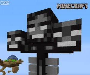 Puzzle de Whither, una criatura jefe en Minecraft
