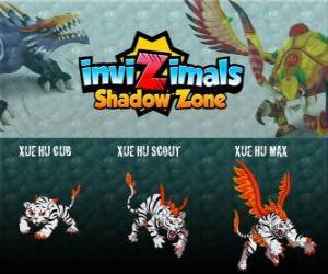 Puzzle de Xue Hu Cub, Xue Hu Scout, Xue Hu Max. Invizimals La otra dimensión. El tigre blanco del cielo es el cuarto protector de la tumba del emperador dragón y el más poderoso