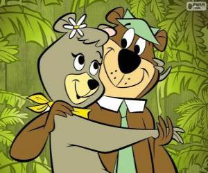 Puzzle de Yogui y Cindy, dos osos enamorados en el parque Jellystone