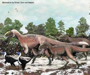 Puzzle de Yutyrannus con cerca de 9 metros de longitud es el mayor dinosaurio con plumas conocido