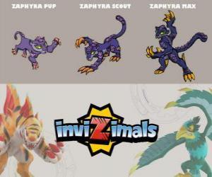 Puzzle de Zaphyra en sus tres fases Zaphyra Pup, Zaphyra Scout y Zaphyra Max, de Invizimals